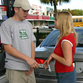 Rainer picks up teen girl Leila at a gas station for a hot trip